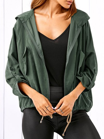 Drawstring Zippered Hooded Jacket - Army Green