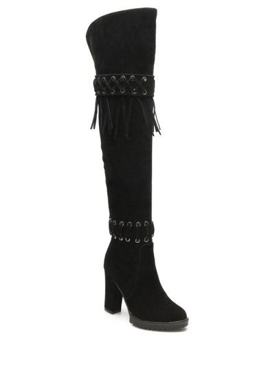 Fringe Criss-Cross Chunky Heel Thigh Boots - BLACK 38 Mobile
