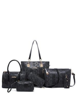Embossed PU Leather Metals Shoulder Bag - Black