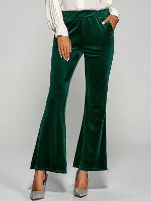 Pockets Velvet Boot Cut Pants - Green
