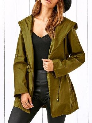 Drawstring Hooded Military Jacket - Celadon