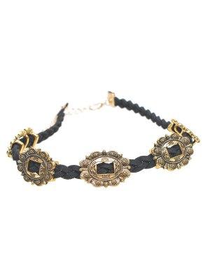 Alloy Engraved Flower Braid Choker Necklace - Golden