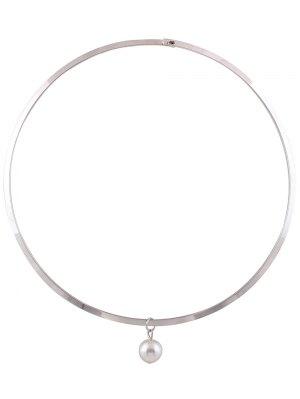 Faux Pearl Alloy Torque - Silver