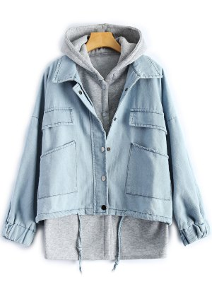 Hooded Waistcoat With Jean Jacket - Light Blue
