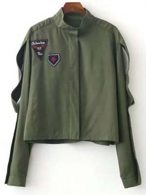 Patched Funnel Neck Jacket - Army Green