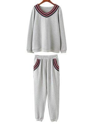 Fleece Plus Size Sweatshirt With Pants - Gray
