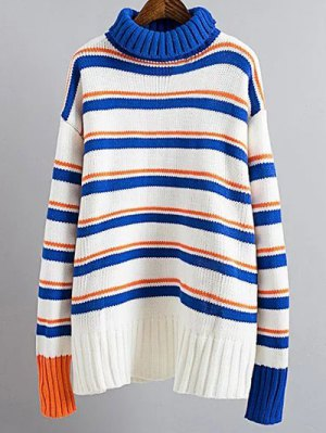 Turtle Neck Striped Sweater - Blue And White