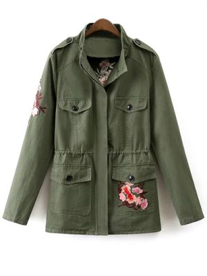Tiger Embroidered Utility Jacket - Army Green