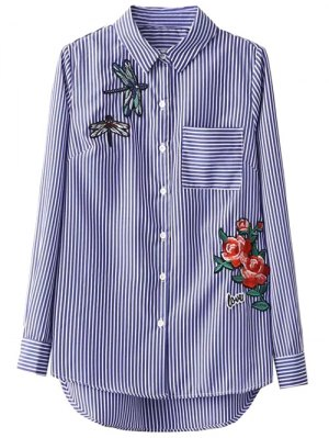 High Low Striped Dragonfly Embroidered Shirt - Blue And White