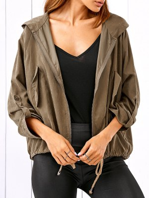 Drawstring Zippered Hooded Jacket - Khaki