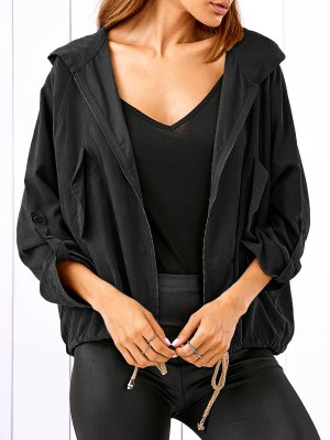 Drawstring Zippered Hooded Jacket - Black