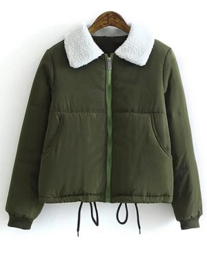 Borg Collar Quilted Puffer Jacket - Army Green