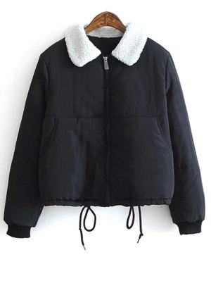Borg Collar Quilted Puffer Jacket - Black