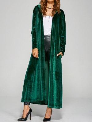 Hooded Velvet Long Coat - Green