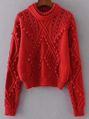 Cut Out Cable Knit Sweater - Red