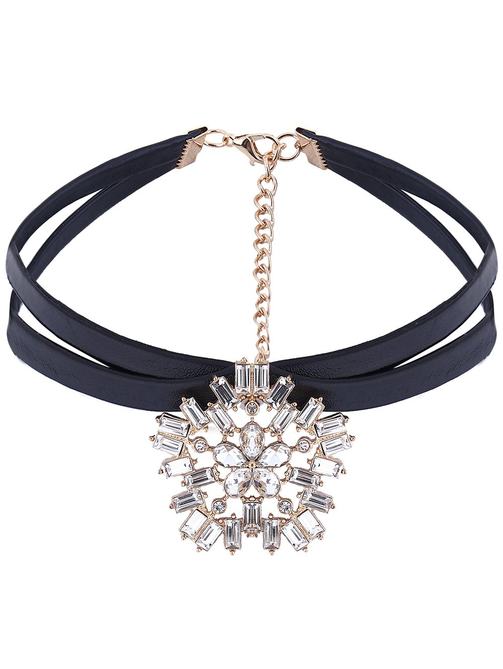 PU Leather Floral Rhinestone Choker