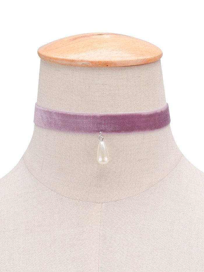 Faux Pearl Velvet Water Drop Choker