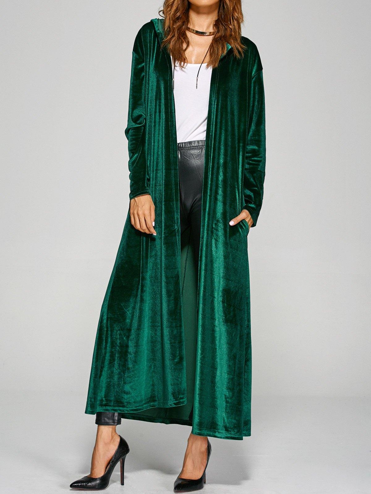 Hooded Pockets Velvet Long Coat