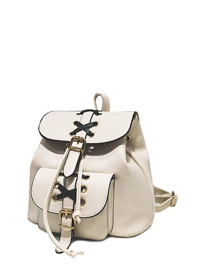 Criss-Cross PU Leather Backpack