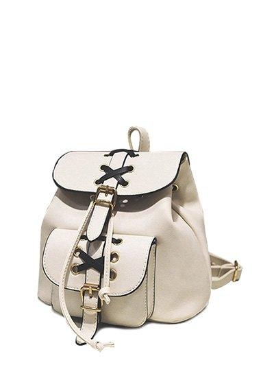Criss-Cross PU Leather Backpack
