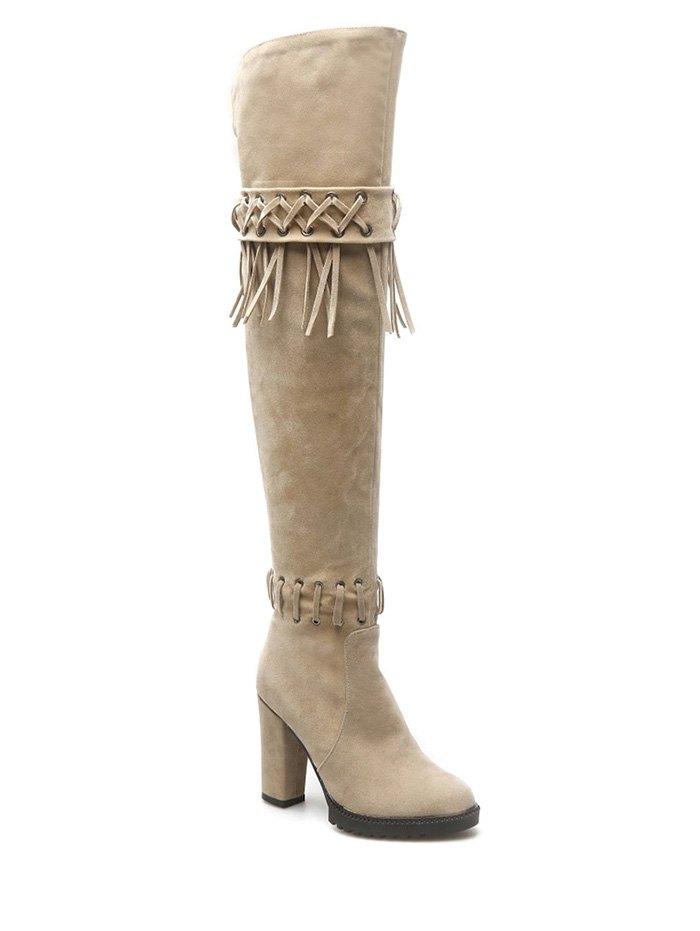 Fringe Criss-Cross Thigh Boots