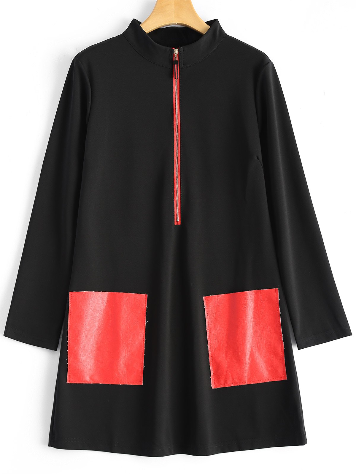 Stand Neck PU Leather Pockets Patched Coat