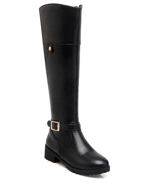 Buckle Chunky Heel Knee-High Boots