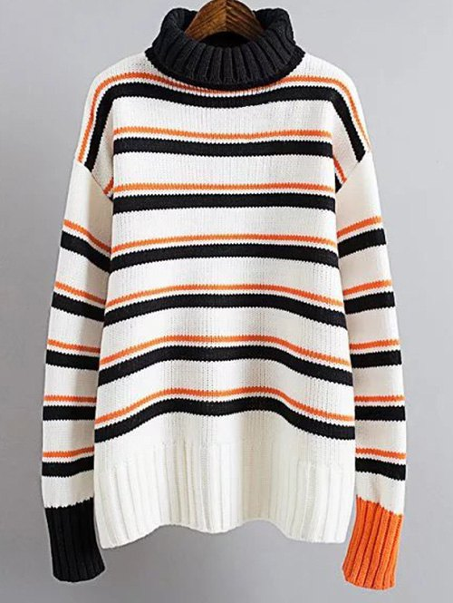 Turtle Neck Striped SweaterClothes<br><br><br>Size: ONE SIZE<br>Color: WHITE AND BLACK