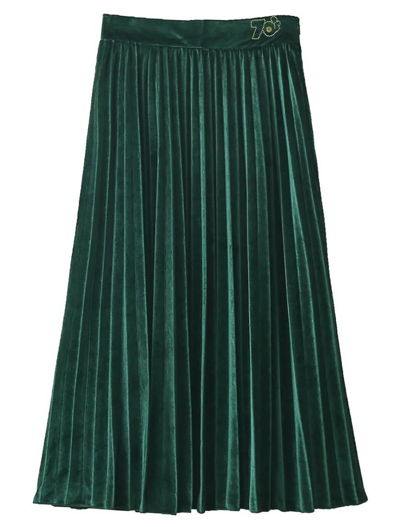 Vintage Velvet Pleated Midi Skirt