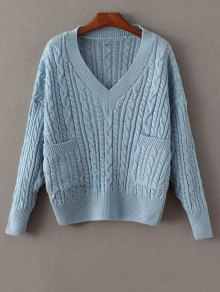 Pockets Cable Knit Sweater