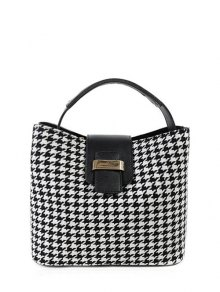 Houndstooth Metal Colour Block Tote Bag