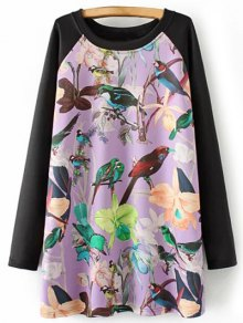 Long Raglan Sleeve Printed Tunic Dress - Purple Xl