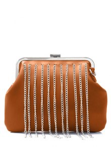 Chains Fringe PU Leather Crossbody Bag - Brown