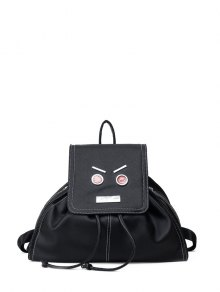 Drawstring Metals Textured Leather Backpack - Black