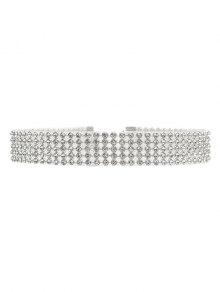 Rhinestoned Choker - Silver