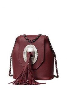 حقيبة طويلة التمر بالجسم شرابة بسلسلة  - نبيذ أحمر