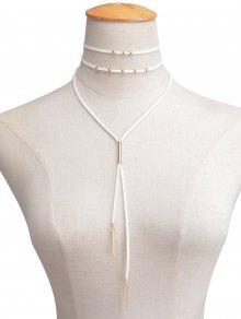 Collier ras-de-cou en faux cuir Velours orné de perle superposé