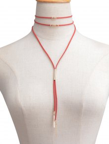 Faux Leather Velvet Bar Beaded Layered Choker