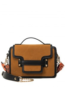PU Leather Spliced Suede Rivet Handbag - Brown
