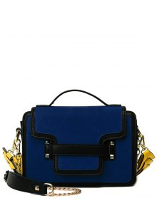 PU Leather Spliced Suede Rivet Handbag - Blue