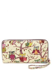 PU Leather Owl Print Zip Around Wallet