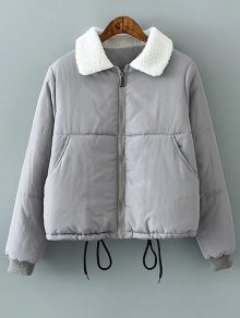 Borg Collar Quilted Puffer Jacket - Gray L