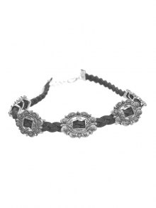 Alloy Engraved Flower Braid Choker Necklace - Silver