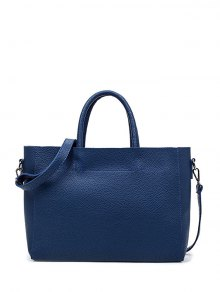 Stitching Textured PU Leather Handbag - Blue