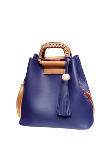Buy Tassel Wood Ball PU Leather Handbag - BLUE