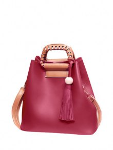 Tassel Wood Ball PU Leather Handbag - Wine Red