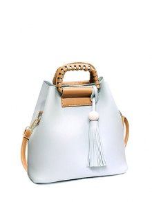 Tassel Wood Ball PU Leather Handbag
