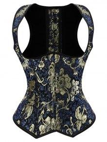 Vintage Jacquard Lace Up  Corset Vest