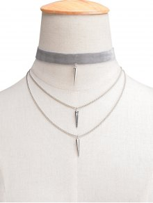 Velvet Layered Rivet Choker - Light Gray
