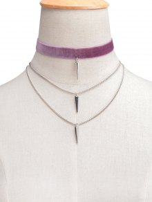 Velvet Layered Rivet Choker